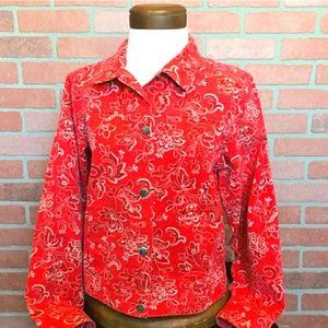 LL Bean Bandana Western Red Denim Jacket
